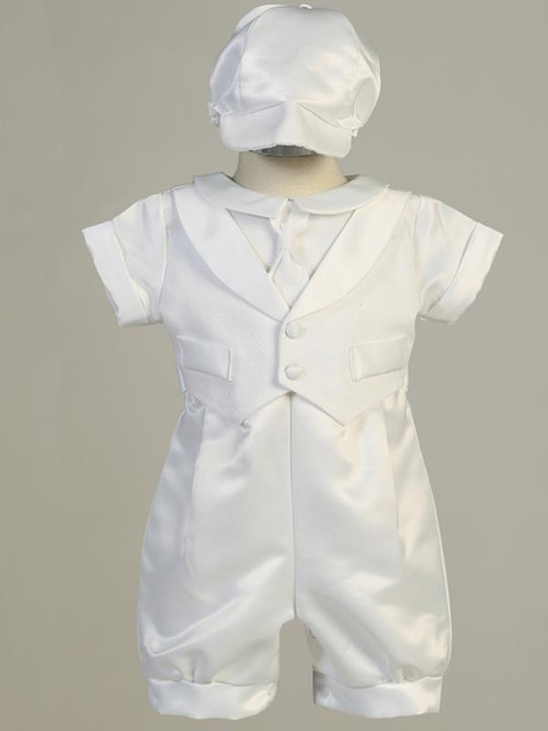 Satin romper with pique vest. Hat is included. Sizes: 0-3mos, 3-6mos, 6-12mos, 12- 18mos. Made in the USA