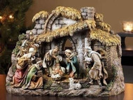10-piece Nativity set made with resin and stone mixture.