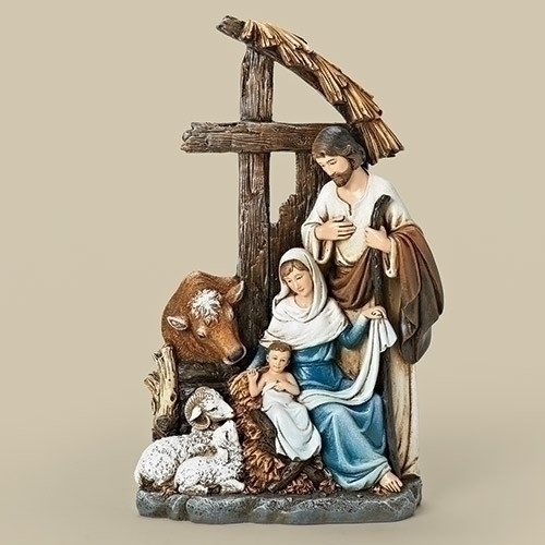 "11"" Holy Family with Cross Stable Figure.  Dimensions: 11.25""H x  7""W x 3.125""D. Materials: Resin/Wollastonite Powder"