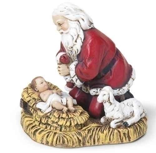 "2.5"" Kneeling Santa Ornament w/The Christ Child. Dimensions: 2.63""H x 2.38""W x 1.88""D"