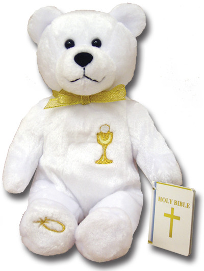 "9"" Tall Bear has an  Embroidered Chalice on his Chest. Bear is also Holding a Bible. Similar to the Popular Beanie Babies"