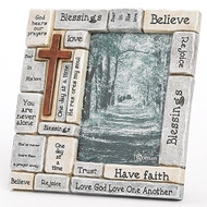 "8.25""H Crossword Frame. Holds a 4"" x 6"" picture. Made of a resin/stone mix."