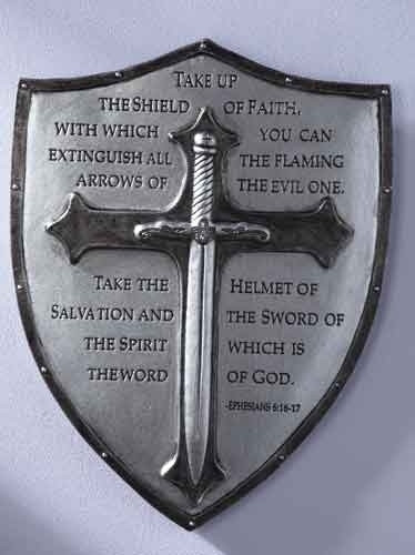 """Armor of God wall plaque reads """"Take up the shield of faith, with which you can extinguish all the flaming arrows of the evil one. Take the helmet of salvation and the sword of the spirit which is the word of God. - Ephesians 6:16-17"""" Resin and stone mix.  6.5""""H 5""""W .375""""D"""