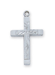 "3/4"" Rhodium Pewter Cross on an 18"" Rhodium Plated Chain. Deluxe Gift Box Included"