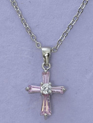 Pink Cubic Zirconia Cross Pendant (Matching earrings Item #160003)