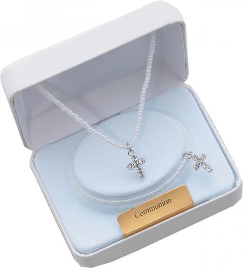 Beautiful Necklace & Stretch Bracelet Set of Tiny Pearls and Rhinestone Cross