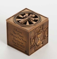 """Multi-sacramental Keepsake. From Baptism, Reconciliation, Holy communion to Confirmation. A Keepsake Box for your treasure that measures 3.6sq"""". Jeremiah 29:11 For I know the Plans I have for you."""