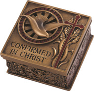 "Confirmed in Christ Collection. 2.75"" Keepsake Box~ Resin/Stone mix with Bronze Finish. See also Wall Cross (#130072) and Picture Frame (#130074)"