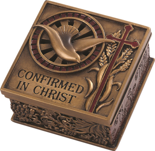 """Confirmed in Christ Collection. 2.75"""" Keepsake Box~ Resin/Stone mix with Bronze Finish. See also Wall Cross (#130072) and Picture Frame (#130074)"""