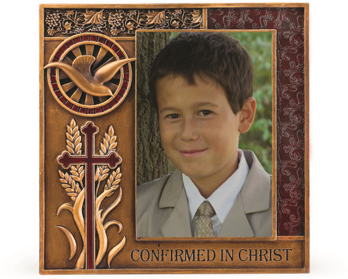 """Confirmed in Christ Collection. 7.5"""" Photo Frame~ Resin/Stone mix with Bronze Finish. Holds 4"""" x 6"""" Photo.  See also Wall Cross (#130072) and Keepsake Box (#130073)"""