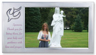 "Satin Silver Sponsor Frame with Dove in Upper Corner. The words, ""Sponsor, Thank you for being there, for your help and guidance with love and prayer"" are printed on frame. Holds a 4"" x 6"" Photo"