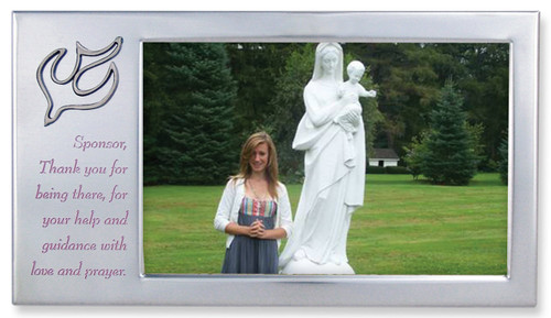 """Satin Silver Sponsor Frame with Dove in Upper Corner. The words, """"Sponsor, Thank you for being there, for your help and guidance with love and prayer"""" are printed on frame. Holds a 4"""" x 6"""" Photo"""