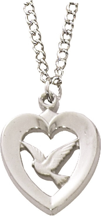 """Sterling Silver Heart with Holy Spirit pendant on an 18"""" stainless chain."""