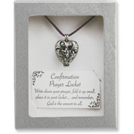 "Confirmation Prayer Locket. Say your prayer and gently blow the prayer into the box and close the lid. Comes attached to a 24"" Plum Satin Cord. Boxed with a card that reads: ""Blessings on your Confirmation. May your faith grow strong, May the Spirit always guide you."""