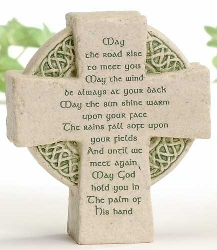 "3.5""H Celtic Cross Faithstone. May the Road rise to meet saying inscribed on it. 3.5""H x 3""W x 1.25D"