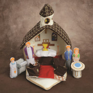 Spark conversations about the Christian faith while you play with your young child and the 'Let's Go to Church' play set! Fashioned with a simple zipper closure for easy clean up and storage, the 'Let's Go to Church' play set includes a carrying case in the shape of a church that unfolds to create a stage for hours of make believe fun. This set includes a priest, a young family, altar server, altar, Baptismal font, pews and an organ. A perfect quiet toy for church or a simple religious accent to your child's bedroom or play room! Sacramental Figures Playset also available (Item # 25540)