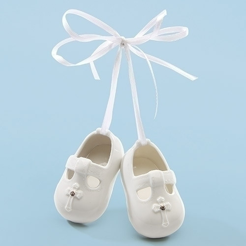 "Baby's White Porcelain 3"" Baptism Booty Ornaments. Dimensions: 3""H 3""W 1.25""D"