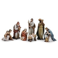 This 7 piece nativity set is a classic addition to your Christmas decorations. The set includes baby Jesus, Mary, Joseph, the three kings, and the shepherd. This nativity set is designed with classic colors and delicate detail. Add this nativity set to your Christmas decorations today! The average height of the nativity set is 9.5 inches.  Made of resin and wollastonite powder