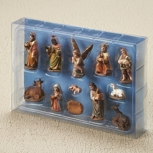 """12 piece nativity in muted colors of earth tones. Poly/resin. Each piece is approximately 2""""H. Dimensions: 2""""H x 0.79""""W x 1.38""""L"""