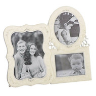 """7.25"""" Triple Photo Frame, Holds two 3"""" x 5"""" photos and one 2.5"""" x 3"""" photos. Zinc alloy and lead freed. From the Caroline Collection!"""