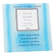"7.75"" Memorial Photo Frame with verse that reads ""It broke our hearts to lose you, but you did not go alone. For part of us went with you on the day God called you home"". Holds a 3.25"" x 3.25"" photo."