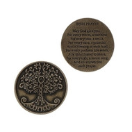 "1.25"" Round Pocket Token.  Tree of Life on one side. Irish Prayer on the backside"