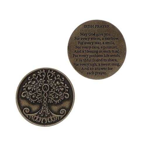 "1.25"" Round Pocket Token.  Tree of Life on one side. Irish Prayer on the backside"
