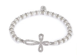 "6"" Child's Pave CZ Silver Cross Bracelet. Stretch. Made of Glass and Brass.  Matching necklace available Item #223048."