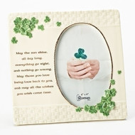 "8.5""H Porcelain Irish Frame, 8.5""H x 8.75""W. Holds a 5x7"" photo"