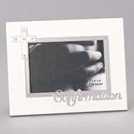 "7""H Confirmation Frame Holds a 4x6"" photo. Medium density fiberboard. From the Caroline Collection."