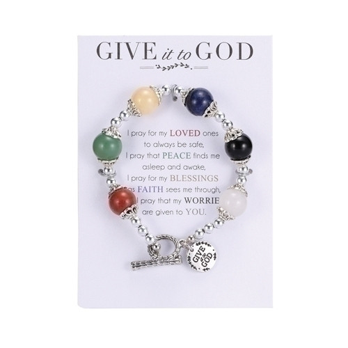 "7"" stretch bracelet made of semi precious stones with dangling charm ""Give it to God."" Prayer is included on card holding the bracelet.See also Give it to God Wall Plaque (Item #222994) and give it to God Prayer Box (Item #222750)"