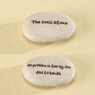 "Faith Stones.  ""The David Stone""  on one side the other side reads: ""No problem is too big for God to handle"".  Resin/stone mix. 1.25"" x 1.75"""