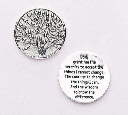"1.25"" diameter Serenity Prayer Pocket Token.  Made of lead free zinc alloy."