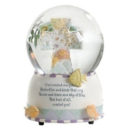 "God Created Everything Musical Globe. Plays ""Talk to the Animals"". Dimensions: 6""H X 4.5""W X 4.5""D. Resin/stone mix. Gift Boxed"