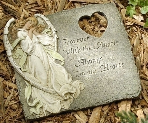 """11.25"""" Stepping Stone with saying:. """"Forever With the Angels, Always In our Hearts"""". Wall hook is included on back side of product. Resin/Stone Mix. Dimensions: 11.25""""H x 11.25""""W x 0.38""""D"""
