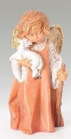 "Fontanini (5"" scale) Little shepherd angel figurine. Material: Polymer.  Dimensions: 2.75""H x 1.625""W x 1.25""D"