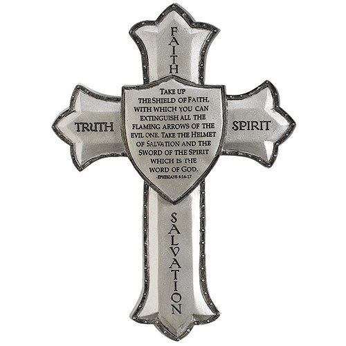 """8.25""""H Armor of God Wall Cross, Ephesians 6:16-17. Dimensions: 8.25""""H x 5.875""""W x 0.375""""D. Resin/Stone Mix"""