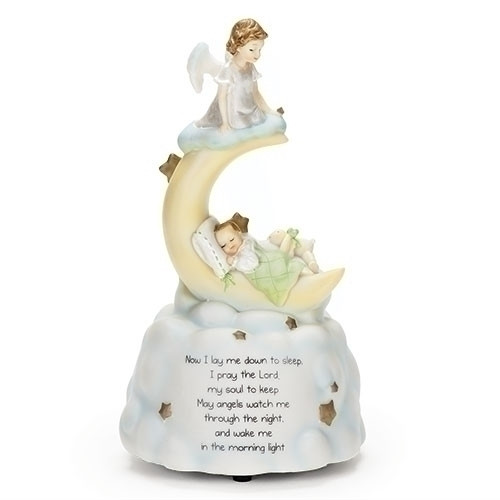 """Sweet Dreams """"Guardian Angel"""" Music Box with poem at the base of box. Plays Brahms Lullaby. Dimensions:  7.5""""H X 4.2""""H.  Materials: Resin stone mix."""