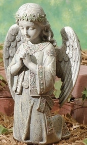 "12.25"" Celtic Kneeling Angel. Resin/Stone Mix. Dimensions: 12.25""H x 7.88""W x 6.125""D"