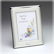 "Satin Finish and Silver Plated Photo Frame with Embossed Communion Design. Holds 3.5"" x 5"" photo on Front. Gift Boxed."