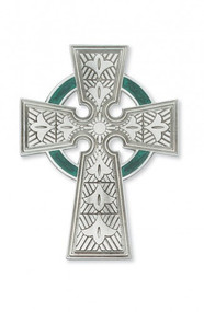 "4 3/4"" Pewter Celtic Cross with Green Enamel. Packaged in a deluxe gift box"