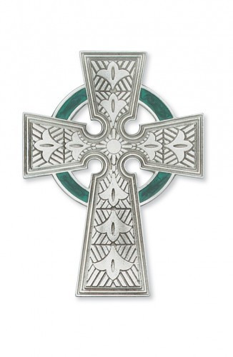 """4 3/4"""" Pewter Celtic Cross with Green Enamel. Packaged in a deluxe gift box"""