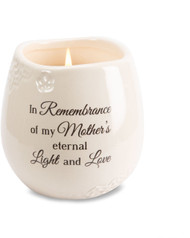 "Ceramic vessel holds 8 ounces of 100% soy wax candle. Tranquility Scent. Measures 2.5L x 2.5W x 3.5H x 2.5D ""In Remembrance of my Mother's eternal Light and Love"""