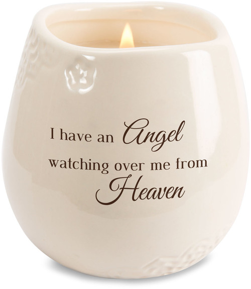 """Ceramic vessel holds 8 ounces of 100% soy wax candle. Tranquility Scent. Measures 2.5L x 2.5W x 3.5H x 2.5D """"I have an Angel watching ovr me from Heaven"""""""