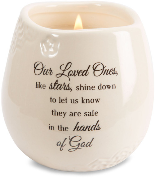 "Ceramic vessel holds 8 ounces of 100% soy wax candle. Tranquility Scent. Measures 2.5L x 2.5W x 3.5H x 2.5D ""Our Loved Ones like stars, shine down to let us know they are safe in the hands of God"""