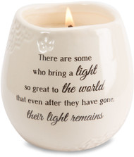 "Ceramic vessel holds 8 ounces of 100% soy wax candle. Tranquility Scent. Measures 2.5L x 2.5W x 3.5H x 2.5D ""There are some who bring a light so great to the world that even after they have gone, their light remains."""