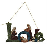"""Resin Nativity Ornament. Measurements: 5.75""""L x 0.50""""W x 3.00""""H.  Choice of one ornament."""