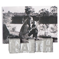 "The Faith Photo Frame is made of cement and has an acrylic frame that attaches to the cement word.  The Faith Photo Frame stands 5""H and holds a 4""x 6"" photo"