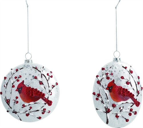 """Plastic  Frosted Look Cardinal Ornament - """"When a Cardinal appears, it's a visitor from Heaven."""" Round (3""""D) or Oval (4.50""""H  x 4""""W x.50""""D) shape available. Each sold separately."""