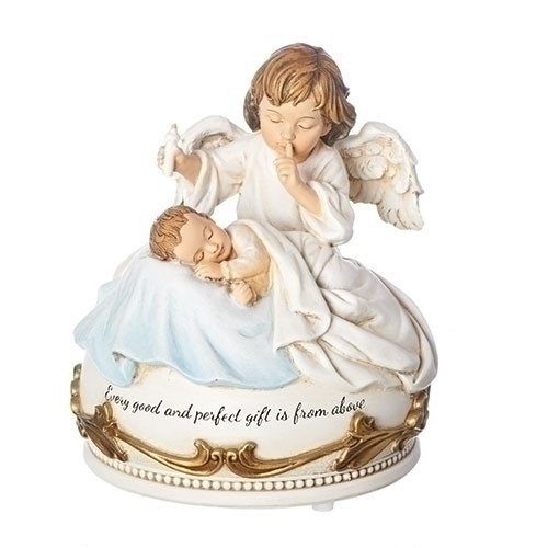 """Hush a Bye Baby Statue. 5""""H Musical Angel Watching Over Baby Statue. Musical tune is Hush Little Baby.This Hush a Bye Baby Musical Statue is a resin stone mix. Written on the Hush a Bye Baby Statue is """"Every good and perfect gift is from above."""""""